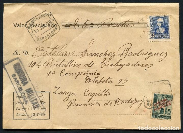 GUERRA CIVIL POST, SOBRE, 104 BATALLÓN DE TRABAJADORES, BADAJOZ, 1939 (Sellos - España - Guerra Civil - De 1.936 a 1.939 - Cartas)