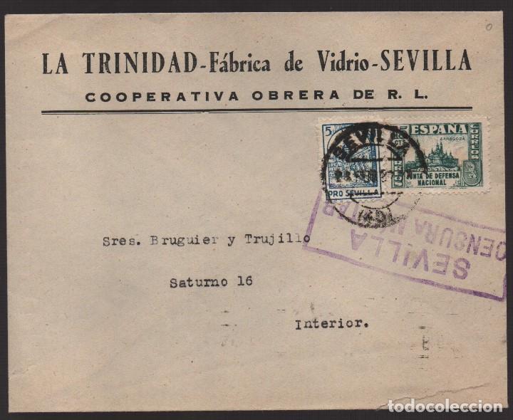 CARTA COOPERATIVA OBRERA, -LA TRINIDAD- FABRICA DE VIDRIOS,. VER FOTOS (Sellos - España - Guerra Civil - Locales - Usados)