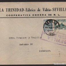 Sellos: CARTA COOPERATIVA OBRERA, -LA TRINIDAD- FABRICA DE VIDRIOS,. VER FOTOS. Lote 126126971