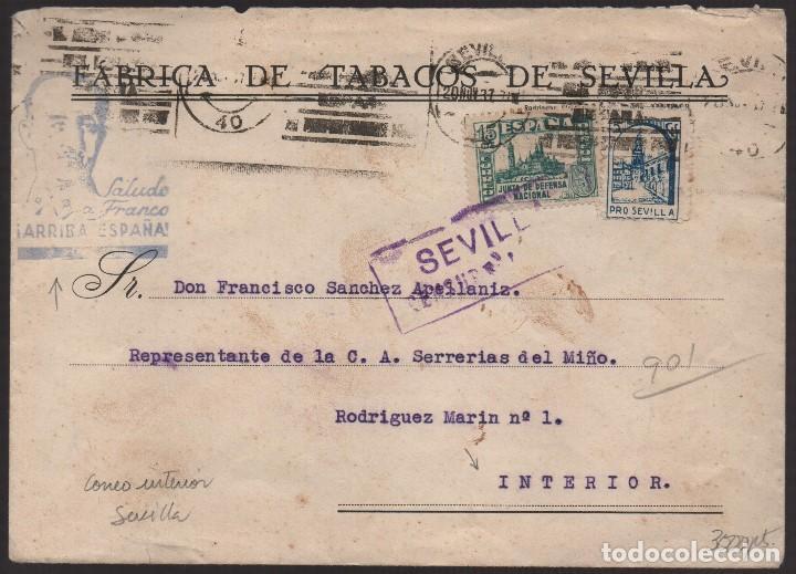 CARTA, FABRICA DE TABACOS DE SEVILLA, VER FOTOS (Sellos - España - Guerra Civil - Locales - Usados)