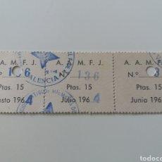 Sellos: VALENCIA. AAMJF ANTIGUOS MIEMBROS DEL F DE J. 3 CUPONES. RAROS. 1964. Lote 126189663