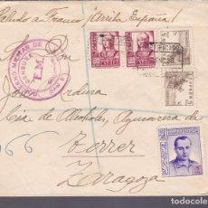Sellos: F27-33-GUERRA CIVIL -CERTIFICADO SAN SEBASTIÁN-TERRER ZARAGOZA 1938. CENSURA Y BENEF JOSÉ ANTONIO. Lote 126774255