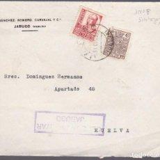 Sellos: F27-35-GUERRA CIVIL -CARTA JABUGO -HUELVA 1937.,FISCAL Y CENSURA. Lote 126776047