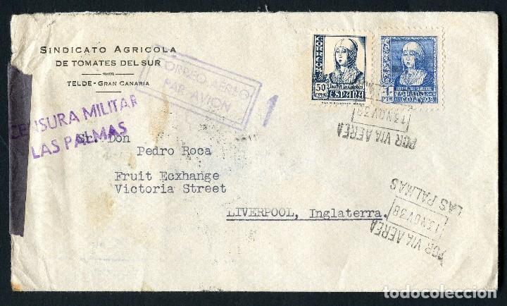GUERRA CIVIL, SOBRE, CORREO AÉREO LAS PALMAS, 1938, CENSURA MILITAR SEVILLA (Sellos - España - Guerra Civil - De 1.936 a 1.939 - Cartas)
