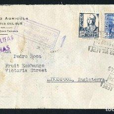 Sellos: GUERRA CIVIL, SOBRE, CORREO AÉREO LAS PALMAS, 1938, CENSURA MILITAR SEVILLA. Lote 126826315