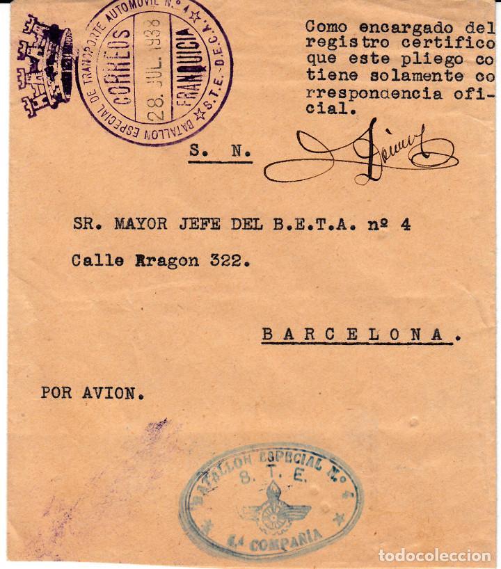 GUERRA CIVIL - SOBRE BATALLON ESPECIAL NUM.4 STE -FRANQUICIA TRANSPORTE AUTOMOVIL JULIO 1938 (Sellos - España - Guerra Civil - De 1.936 a 1.939 - Cartas)