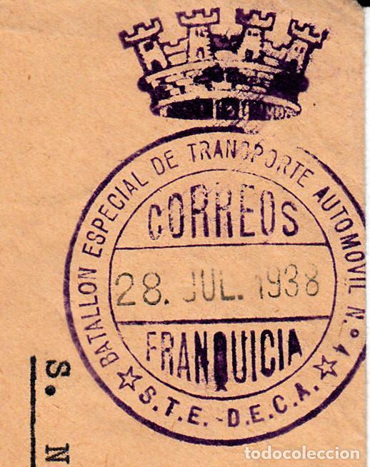 Sellos: GUERRA CIVIL - SOBRE BATALLON ESPECIAL NUM.4 STE -FRANQUICIA TRANSPORTE AUTOMOVIL JULIO 1938 - Foto 3 - 127373455