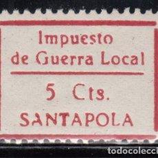 Sellos: SANTA POLA, IMPUESTO DE GUERRA LOCAL, 5CTS. Lote 127494439