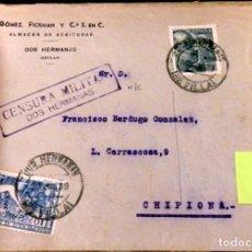 Sellos: DOS HERMANAS, SEVILLA, 1939, SOBRE CIRCULADO A CHIPIONA CON CENSURA MILITAR,RARO. Lote 127618423