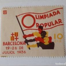 Sellos: OLIMPIADA POPULAR BARCELONA 19-26 DE JULIOL DE 1936, 10 CTS.. Lote 19232253