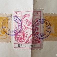 Sellos: DOCUMENTO CON SELLOS VIÑETAS AYUNTAMIENTO DE CEUTA 1944. Lote 128246676