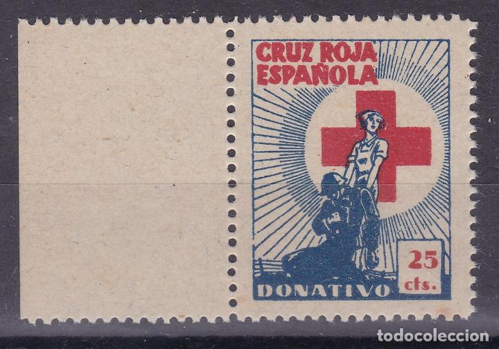 BB1- CRUZ ROJA ESPAÑOLA. DONATIVO 25 CTS .SIN GOMA. LUJO (Sellos - España - Guerra Civil - Viñetas - Nuevos)