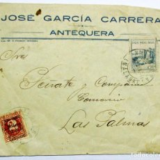 Sellos: BONITO SOBRE CIRCULADO DE ANTEQUERA A LAS PALMAS, CON DIVERSAS VIÑETAS. GUERRA CIVIL 1937 LOTE 0032. Lote 128352847