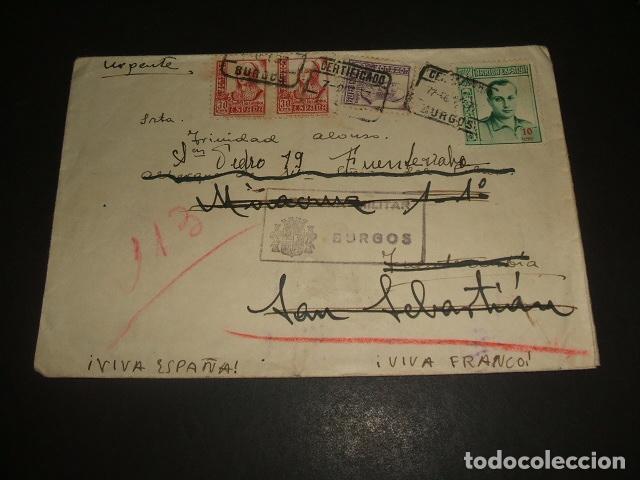 CARTA CIRCULADA DE BURGOS A SAN SEBASTIAN 1937 CERTIFICADO URGENTE CENSURA MILITAR BURGOS (Sellos - España - Guerra Civil - De 1.936 a 1.939 - Cartas)