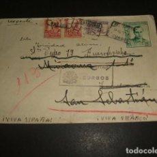 Sellos: CARTA CIRCULADA DE BURGOS A SAN SEBASTIAN 1937 CERTIFICADO URGENTE CENSURA MILITAR BURGOS. Lote 128569775