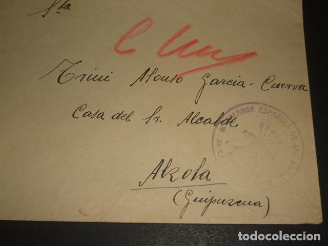CARTA CIRCULADA DE CUERVA TOLEDO A MADRID CENSURA BANDERA DE CASTILLA FALANGE BURGOS (Sellos - España - Guerra Civil - De 1.936 a 1.939 - Cartas)