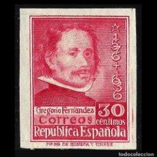 Sellos: 1937. III CENTENARIO GREGORIO FERNANDEZ. 30C CARMÍN. NUEVO ** SIN DENTAR.EDIF, Nº 726. Lote 128573459