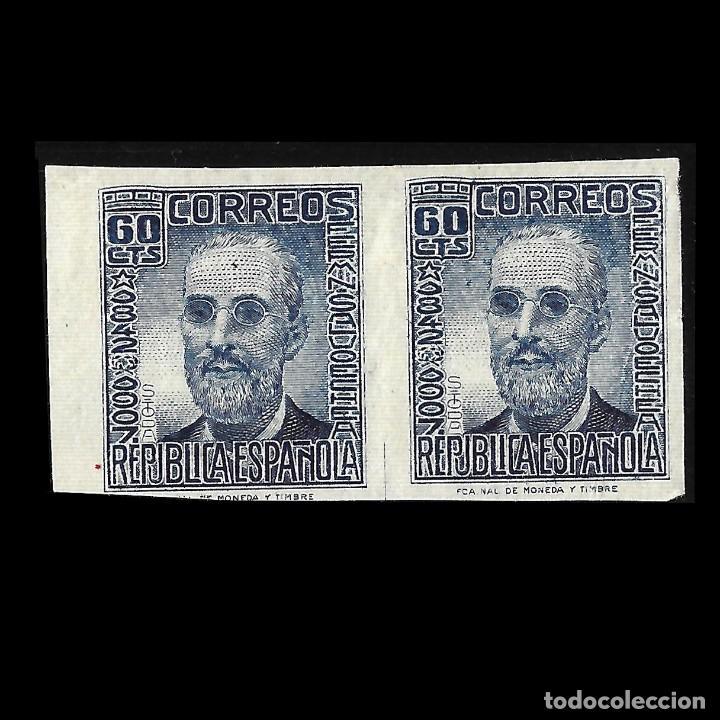 1936-1938 CIFRA Y PERSONAJES. 60 C AZUL.. BLOQUE DE 2. SIN DENTAR. NUEVO** EDIF. Nº 739 (Sellos - España - Guerra Civil - De 1.936 a 1.939 - Nuevos)