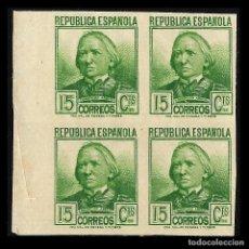 Sellos: 1936-1938 CIFRA Y PERSONAJES. 15 C VERDE AMA.. BLOQUE DE 4. SIN DENTAR. NUEVO** EDIF. Nº 733. Lote 128576971