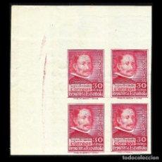 Sellos: 1937 III CENT. GREOGIO FERNANDEZ. 30 C. BLOQUE DE 4. SIN DENTAR. NUEVO** EDIF. Nº 726. Lote 128577231