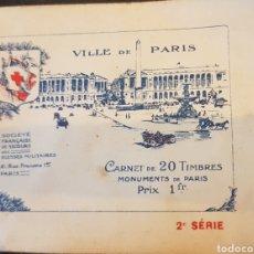 Sellos: CARNET CON 20 VIÑETAS FRANCIA 1911. Lote 128697306