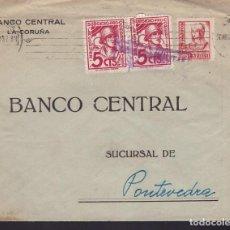 Sellos: F3-88- GUERRA CIVIL CARTA LA CORUÑA 1937. CENSURA SOBRE 2 VIÑETAS SUBSIDIO COMBATIENTE. Lote 128723395