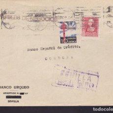 Sellos: F3-88- GUERRA CIVIL CARTA SEVILLA 1938. CENSURA . TUBERCULOSOS Y SALUDO A FRANCO. Lote 128723551