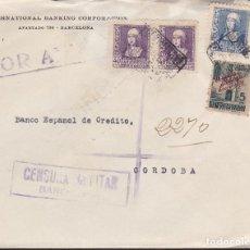 Sellos: F3-89- GUERRA CIVIL CERTIFICADO BARCELONA-CÓRDOBA 1939. CENSURA . Lote 128723755