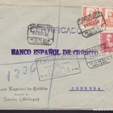 Sellos: F3-90- GUERRA CIVIL CERTIFICADO RONDA (MÁLAGA)-CÓRDOBA 1939. CENSURA Y LOCAL. Lote 128724019