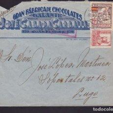 Sellos: F3-90- GUERRA CIVIL CARTA GRAN FÁBRICA DE CHOCOLATES GALANTE LA CORUÑA 1937. LOCAL Y CENSURA . Lote 128724327