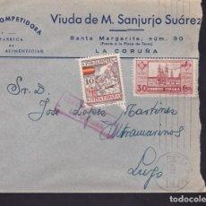 Sellos: F3-91- GUERRA CIVIL CARTA FÁBRICA PASTAS LA COMPETIDORA LA CORUÑA 1937. LOCAL Y CENSURA . Lote 128724679