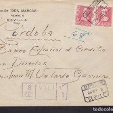 Sellos: F3-92- GUERRA CIVIL CERTIFICADO PENSIÓN DON MARCOS SEVILLA 1939. LOCAL Y CENSURA N/C. Lote 128725019