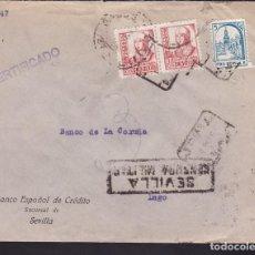 Sellos: F3-92- GUERRA CIVIL CERTIFICADO SEVILLA - LUGO 1938. LOCAL Y CENSURA. Lote 128725243
