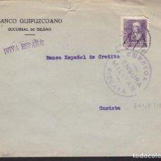 Sellos: F3-93- GUERRA CIVIL CARTA BILBAO -CÓRDOBA 1939. LOCAL Y CENSURA. Lote 128725655