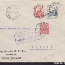 Sellos: F3-94- GUERRA CIVIL CARTA RONDA (MÁLAGA) 1937. FISCAL LOCAL Y CENSURA. Lote 128725955