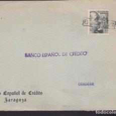 Sellos: F3-95- GUERRA CIVIL CARTA ZARAGOZA. FRANCO MATASELLOS LINEAL ESTUVO EN LISTA . Lote 128726615
