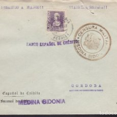 Sellos: F3-99- GUERRA CIVIL CARTA MEDINA SIDONIA (CÁDIZ) 1939. LOCAL Y CENSURA N/CATª. Lote 128728531