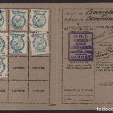 Sellos: BARCELONA, CARNET, C.N.T. RAMO CONSTRUCCION, 7 CUOTAS, VER FOTOS. Lote 128731283