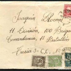 Sellos: GUERRA CIVIL, CARTA, 11 DIVISIÓN, 100 BRIGADA COMANDANCIA, 1938. Lote 128744039