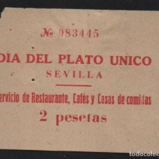 Sellos: SEVILLA, 2 PTAS, PLATO UNICO, VER FOTO. Lote 128816863