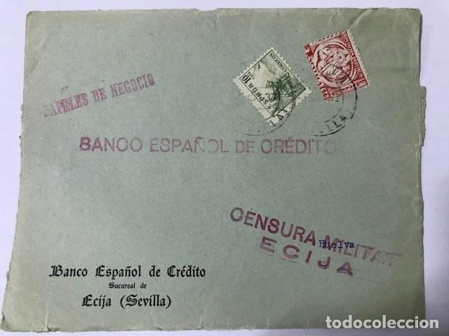 ECIJA, CENSURA MILITAR. FRONTAL DE SOBRE (Sellos - España - Guerra Civil - De 1.936 a 1.939 - Cartas)