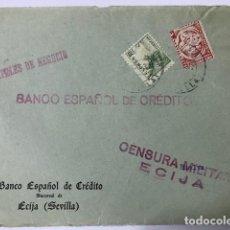 Sellos: ECIJA, CENSURA MILITAR. FRONTAL DE SOBRE. Lote 129560675
