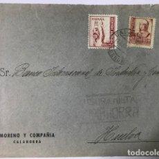 Sellos: CALAHORRA. CENSURA MILITAR. FRONTAL DE SOBRE. Lote 129560943