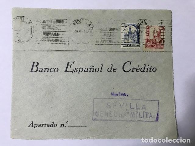 SEVILLA. CENSURA MILITAR FRONTAL DE SOBRE (Sellos - España - Guerra Civil - De 1.936 a 1.939 - Cartas)