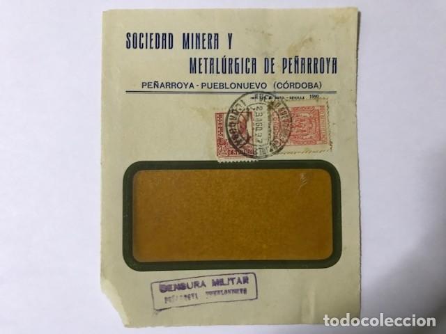 PEÑARROYA-PUEBLONUEVO. CENSURA MILITAR. FRONTAL DE SOBRE (Sellos - España - Guerra Civil - De 1.936 a 1.939 - Cartas)