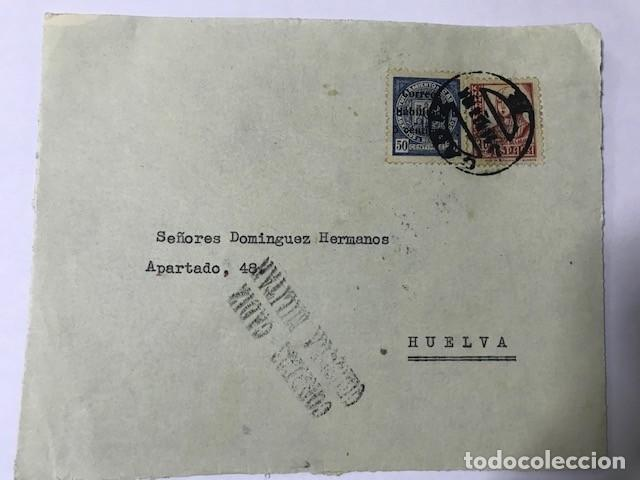 CADIZ CENSURA MILITAR FRONTAL DE SOBRE (Sellos - España - Guerra Civil - De 1.936 a 1.939 - Cartas)