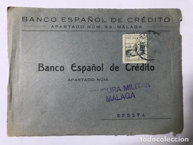 MALAGA CENSURA MILITAR FRONTAL DE SOBRE (Sellos - España - Guerra Civil - De 1.936 a 1.939 - Cartas)