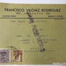 Sellos: BARBATE CENSURA MILITAR. RARA FRONTAL DE SOBRE. Lote 129564351