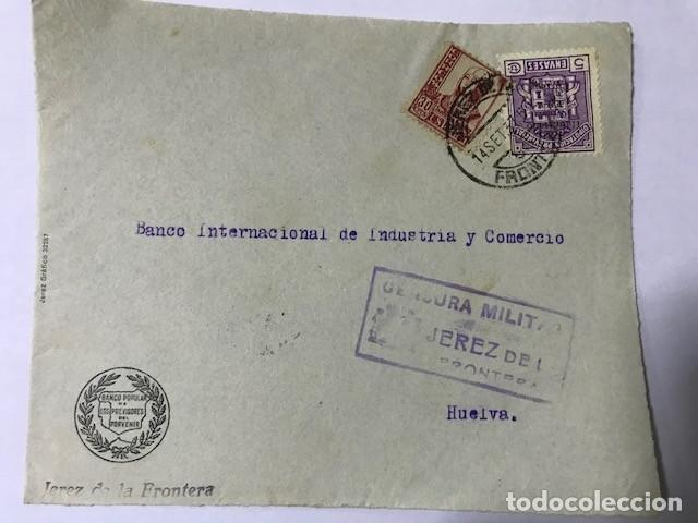 JEREZ DE LA FRONTERA CENSURA MILITAR FRONTAL DE SOBRE (Sellos - España - Guerra Civil - De 1.936 a 1.939 - Cartas)