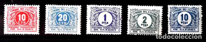 RECARGO GUERRA, TIMBRE DEL ESTADO, 5 VALORES DISTINTOS, EN NUEVO Y SIN CHARNELA. (Sellos - España - Guerra Civil - De 1.936 a 1.939 - Nuevos)